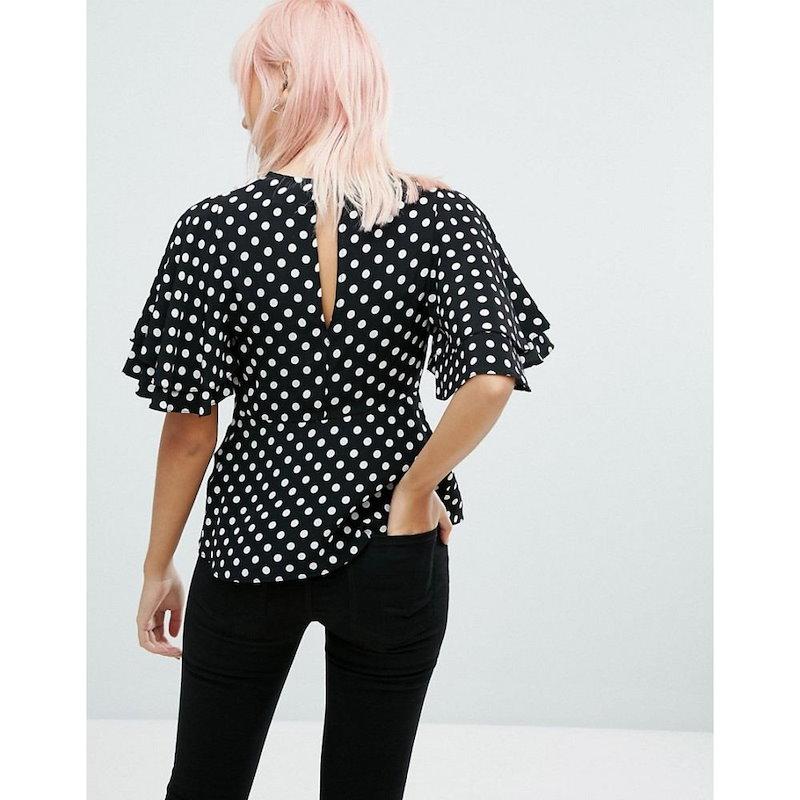 ニュールック レディース トップス【New Look Spot Waisted Shell Top】Black pattern