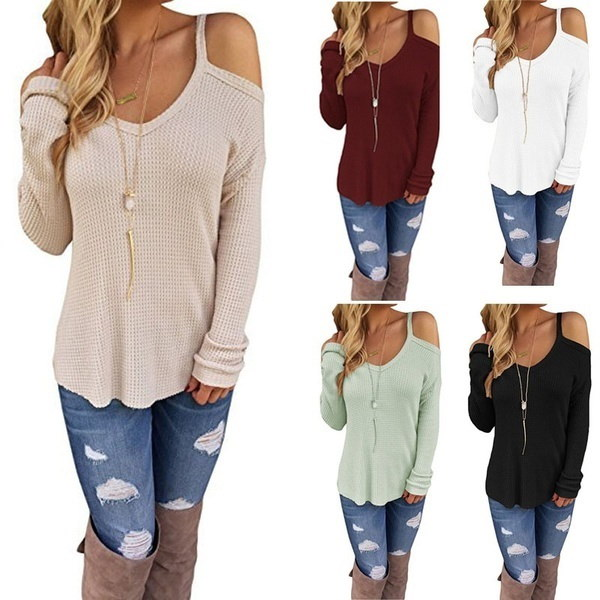 Women s Autumn Loose O-neck Off Shoulder Long Sleeve Knitted Sweater 8 Colors