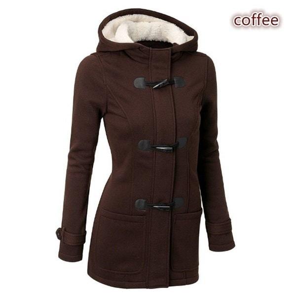 ファッションS  -  5XL暖かい二重冬のコート女性のウールジャケットコートパーカーパーカーホーンボタンマン
