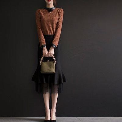 韓国ファッション 春 韓国 タイト チュールスカート 異素材 マーメイドライン ミモレ丈