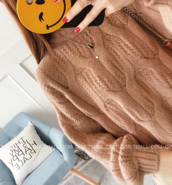 [55555SHOP]2018秋冬新型女装修身着やせレース編みニットセーター切り替え ニットセーター メリヤス 長袖セーター ベーシック 大人気