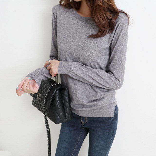 [Deming] Good round knit material Cut five knit basic knit soft knit soft knit