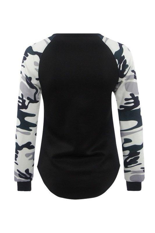 ファッションロングスリーブプリントステッチラウンドネックシャツカジュアルな女性の迷彩Tシャツトップス
