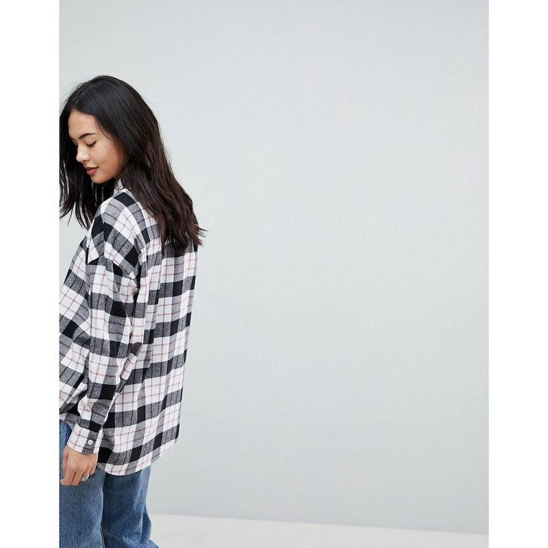 エイソス レディース トップス ブラウス・シャツ【ASOS Oversized Shirt in Mono/Red Check】Multi