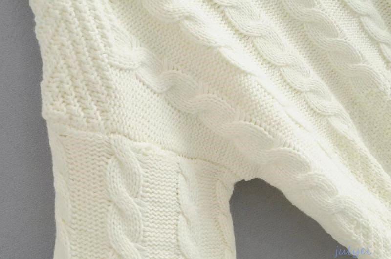 トップス ケーブル   チュニック ニット 秋冬  長袖 ハイネックセーター  リブ ケーブルニット ゆるニット 無地  ホワイト 、レッド