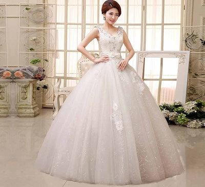 花飾り 刺繍 リボン 蝶結び ノースリーブ ウェディングドレス 高級 礼服 花嫁 水晶 イブニングドレス XCXJ10