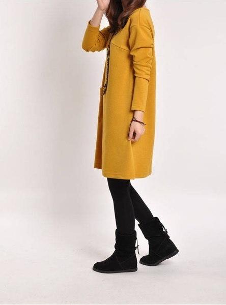 女性秋ロングスリーブポケットルーズマタニティスイングドレスカジュアルコットンVネック妊娠中のドレス(Si
