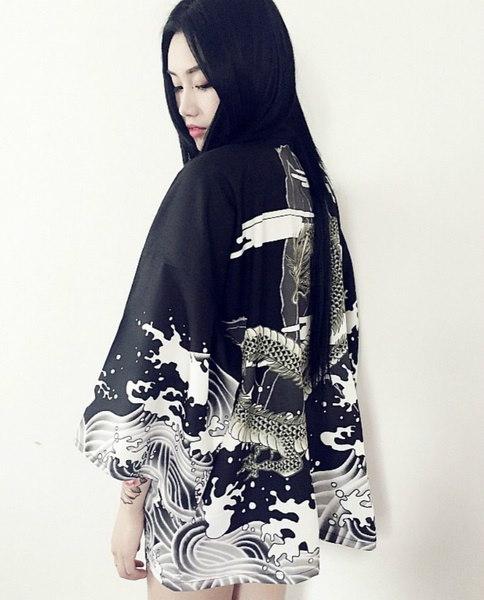 ヴィンテージ夏のスタイルドラゴンウェーブプリントシフォンコート女性サンプロテクションカーディガン着物ファッション
