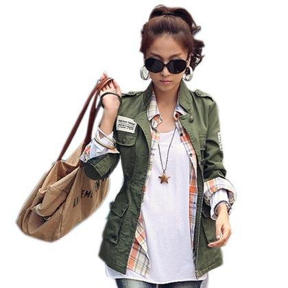 SM、L 2017春の秋の女性の刺繍軍の軍隊緑のジャケット巾着のパッチワークFoldable Co