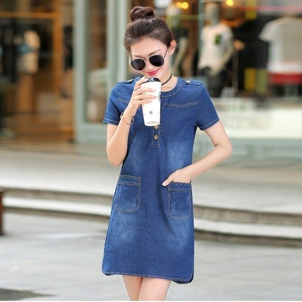 ファッション女性デニムドレス夏の半袖ルーズドレスVネックソリッドデニムドレス