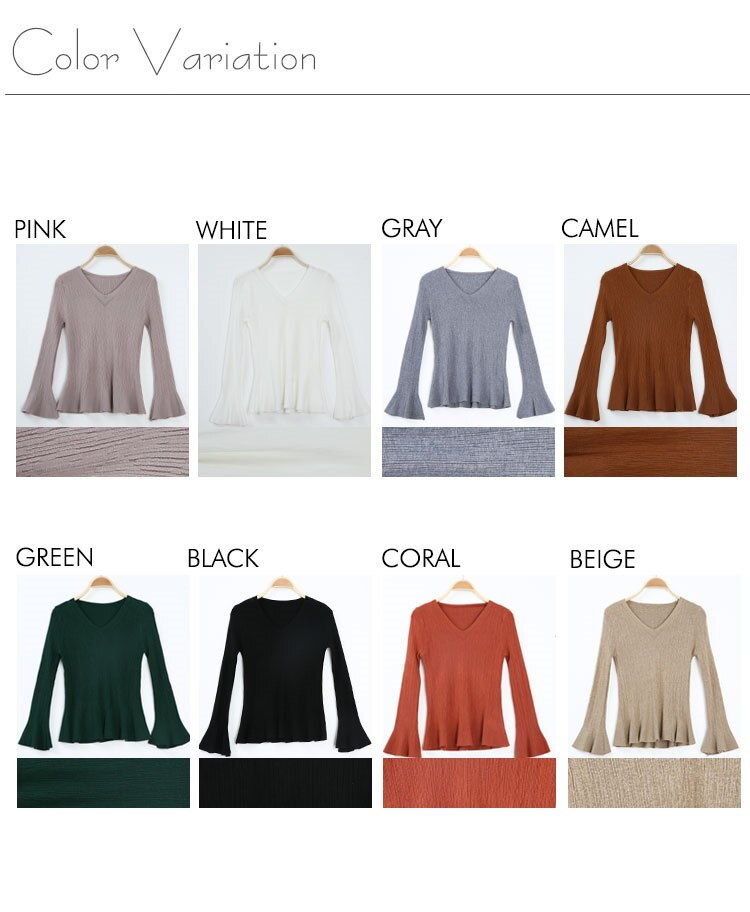 Vネックフレア袖リブニット 全8色、リブニット、ピンク ベージュ ホワイト ブラック キャメル グリーン コーラル グレー 女性らしい、フェミニン 季節感、秋 おしゃれ 大人可愛い