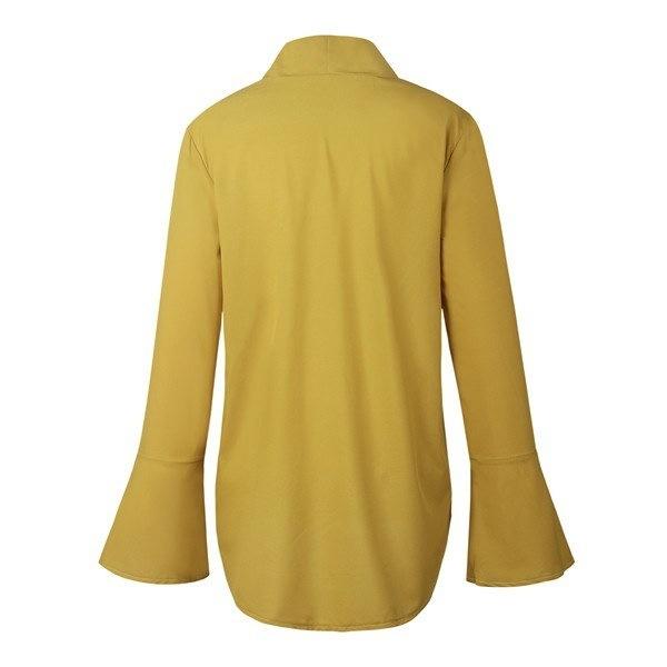 ファッション女性のブラウス長袖エレガントなパーティートップマスタングイエロールースちょう結びの女性のシャツ