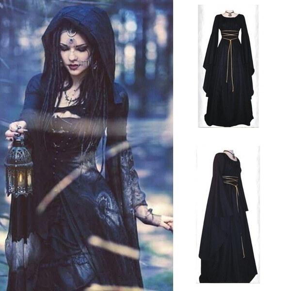 女性の中世の服ルネッサンスのフード付きゴシックドレスフロアの長さのコスプレレトロガウンのドレス