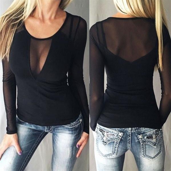 女性セクシーなスプライスメッシュブラウスロングスリーブOネックカジュアルソリッドスリムシャツを見る
