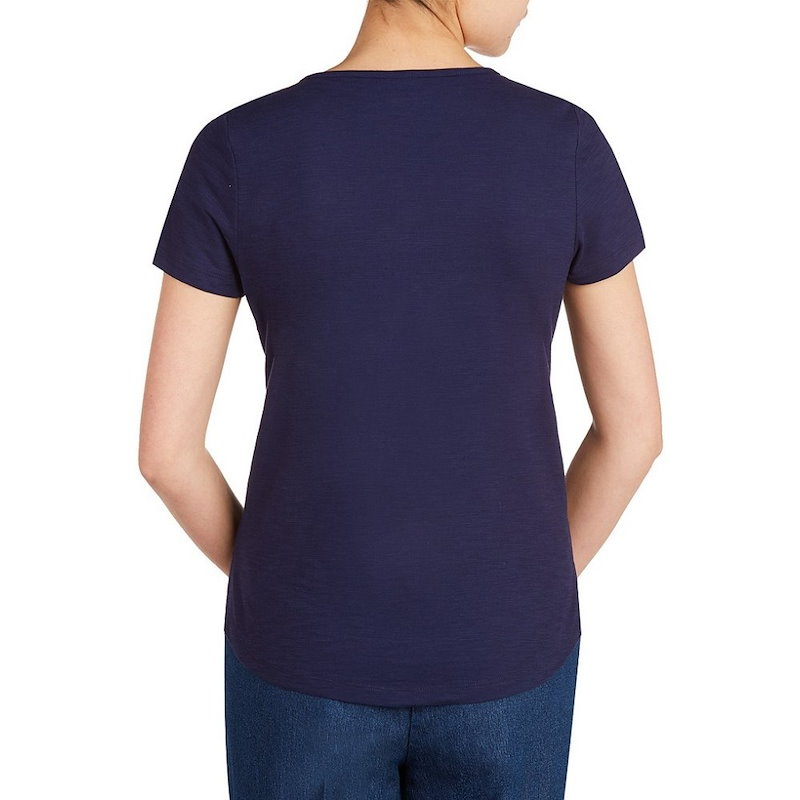 アリソン デイリー レディース トップス【Allison Daley Petites Embroidered Notch Neck Short Sleeve Knit Top】Navy