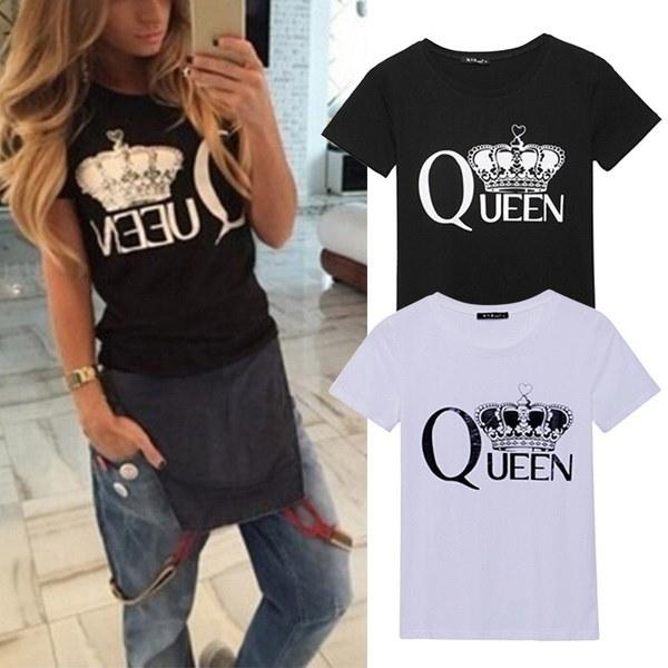 夏の女性クイーンクラウンプリントシャツ半袖トップスプラスサイズのTシャツ