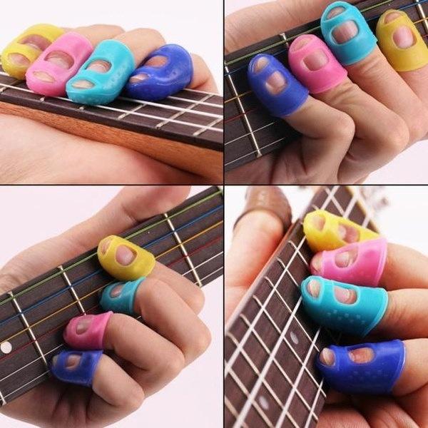 4PCSギター指先プロテクターウクレレギターアクセサリー指ガード