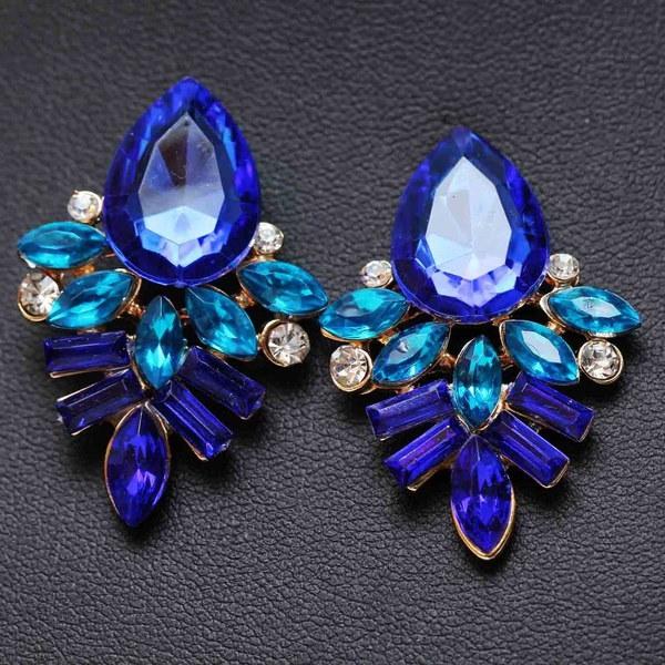 パリのファッションショーエレガントなデザインレディークリアマルチカラークリスタルロングウェディングダングルの女性のイヤリング