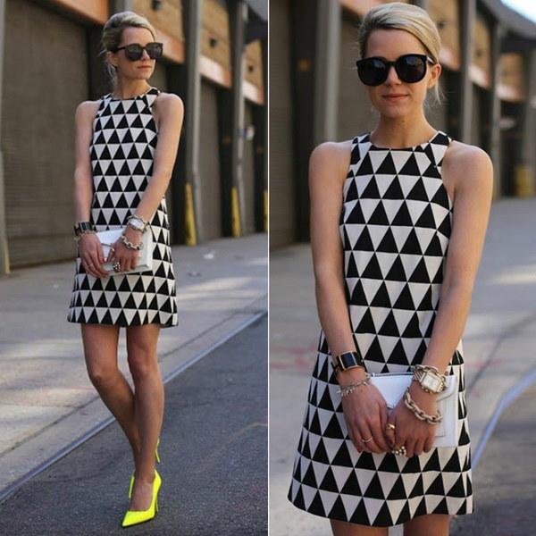 ファッション女性ノースリーブセクシードレスエレガントオフィスOLフォーマルドレストライアングルプリントイブニングパーティー