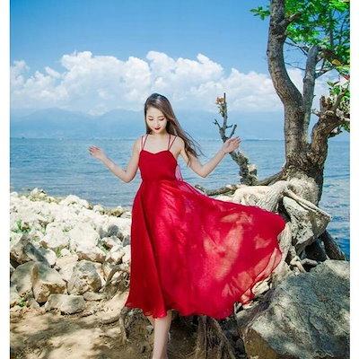 春夏 ワンピース レディースビーチドレス カラードレス ボヘミアン風 マキシ丈 2色 ノースリーブ 無地 ゆったり おしゃれ 人気 海 旅行 撮影 日常-P964