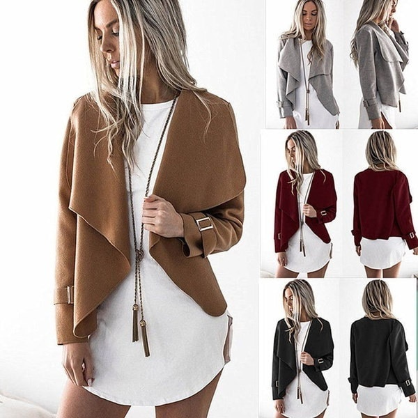 Women Fashion Long Sleeve Woolen Coat Lapel Casual Warm Short Jackets Slim Overcoat