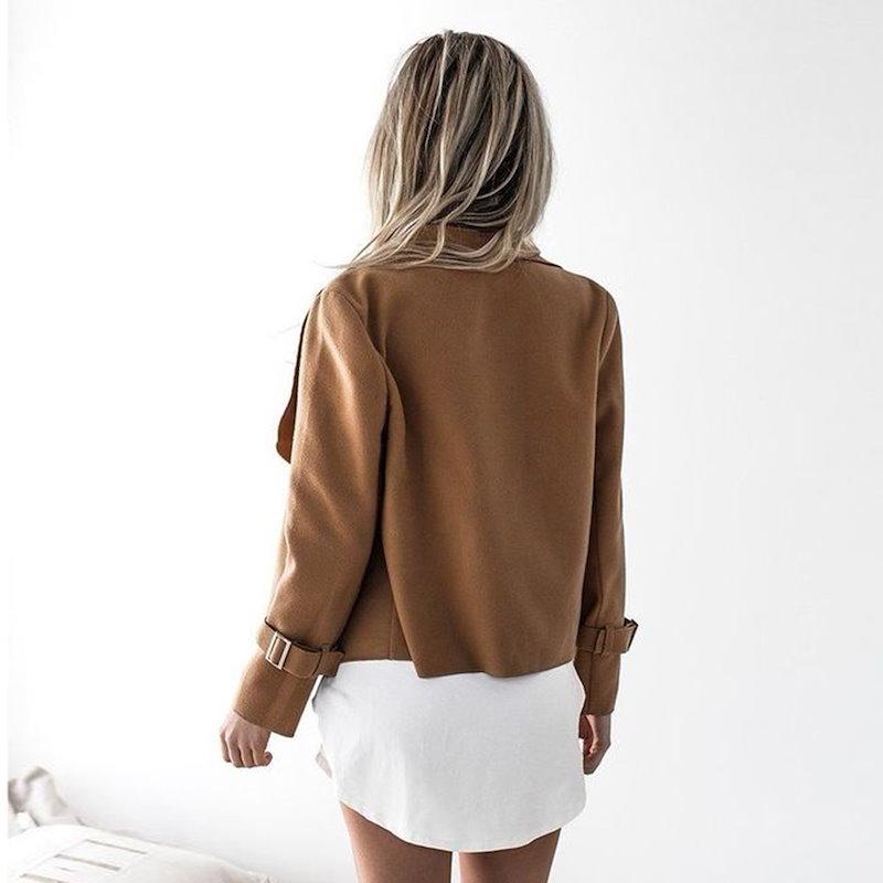 Women Fashion Long Sleeve Woolen Coat Lapel Casual Warm Short Jackets Slim Overcoat
