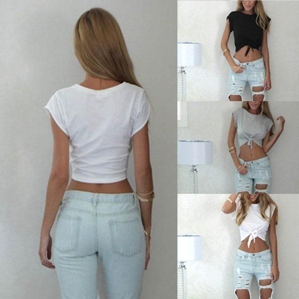 女性ファッション夏のノースリーブティーブラウスカジュアルなトゥイストフロントトップスのTシャツ