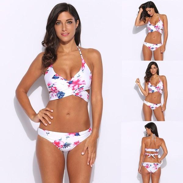 セクシーな女性の水着水着花のホルターラップスプリットビキニセット