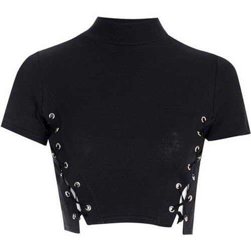 女性セクシーな夏クロップドトップホワイトブラックレースアップタートルネックTシャツ女性ショートスリーブホロウ