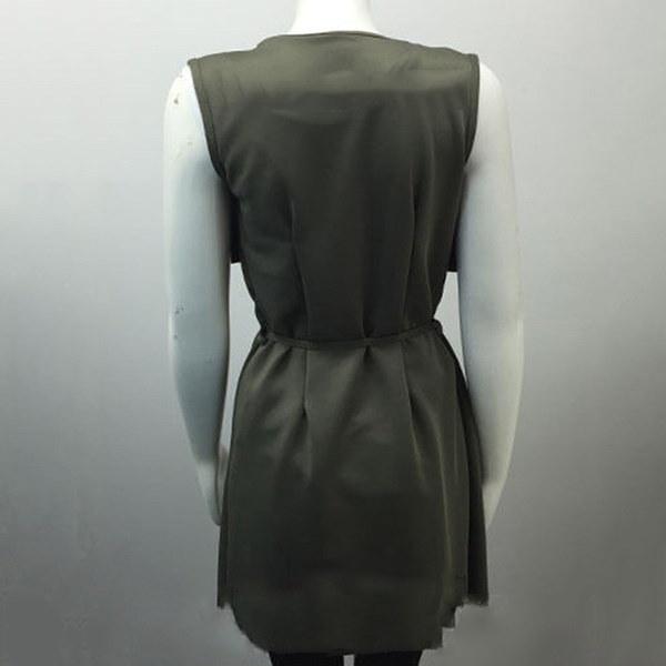 女性ノースリーブウォーターフォールロングカーディガンジャケットウインドブレークケープコート