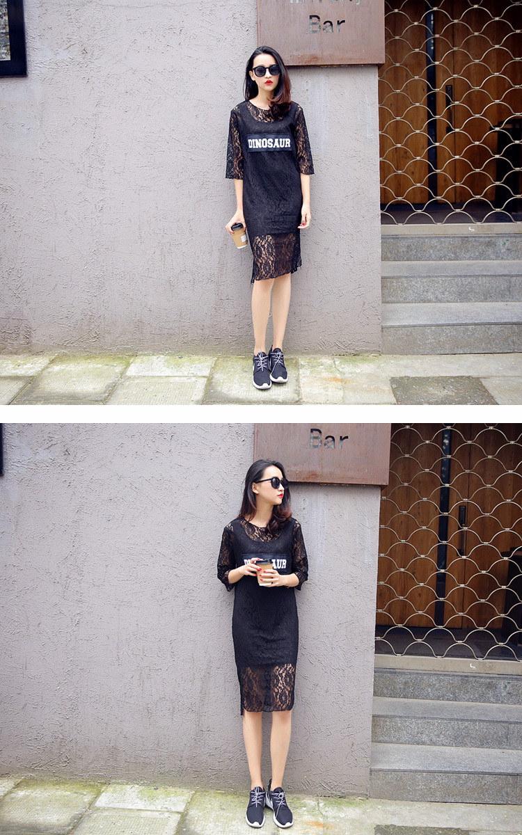 【Miss R PINK】 フロントロゴ 総フラワー 花柄レース 七分袖 ワンピース (2色)【ミスアール】
