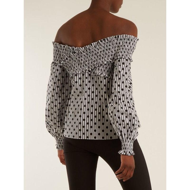 アンナ オクトーバー レディース トップス オフショルダー【Off-the-shoulder polka-dot cotton top】Granite-grey and white