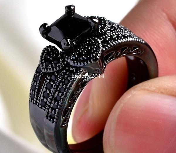 Sz6-13カップルリングヒースズ3 PCブラックステンレススチール10kブラックウェディングリングバンドセット(2本のリング)