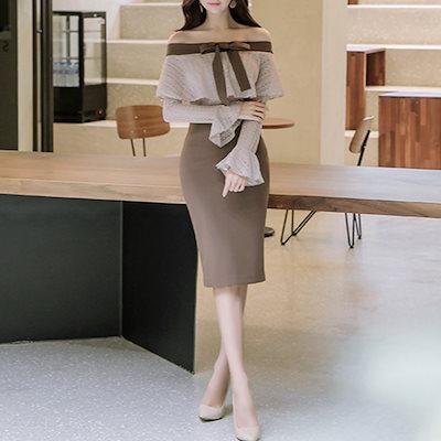 韓国ファッション 韓国 オフショルダー レース リボン タイト 膝丈 ドレス 結婚式 フリル 袖 長袖  (19C13160)