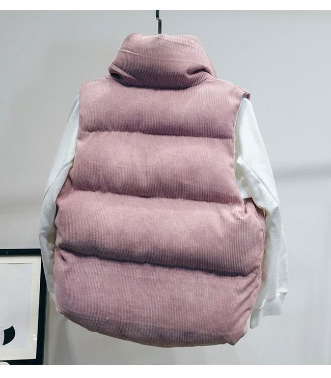 レディース服 女性 秋 冬 暖かい 綿ベスト トップス チョッキ ダウンベスト ノースリーブ ファスナー 帽子 コーデュロイ スタンドカラー 大きいサイズ カジュアル