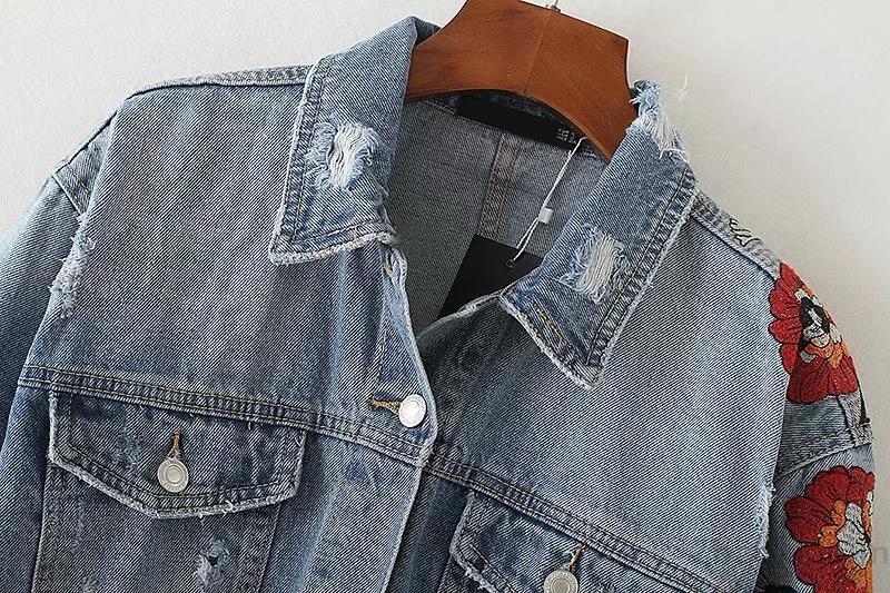 欧米風裾フリンジ花刺繍入りカジュアル長袖デニムジャケット/短いジャケット