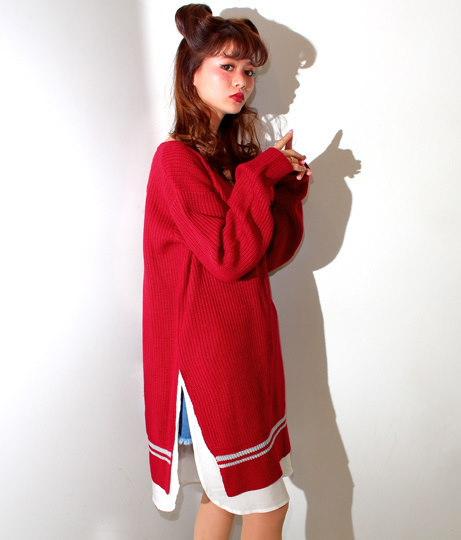 裾シャツ合わせニットワンピース
