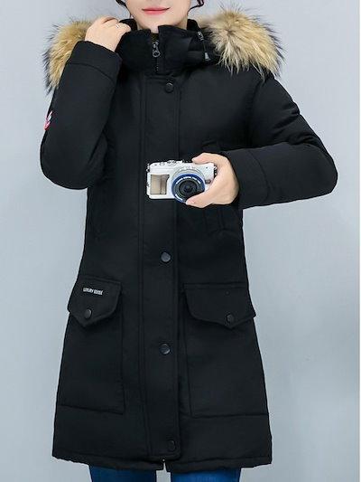 カジュアル全3色フード付き秋冬暖かいスリムアウターダウンコート