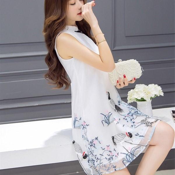 改善cheongsam女性の長いセクションの夏のドレス、ノースリーブcheongsam襟の刺繍