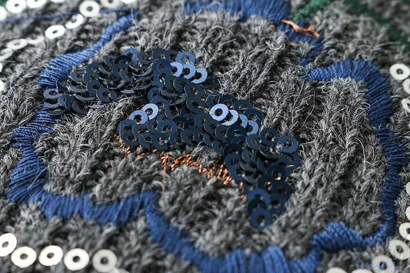 欧米風花刺繍ラウンドネックニット 2017秋冬 ニット トップス セーター 伸縮性 レディース  ゆったり 体型カバー