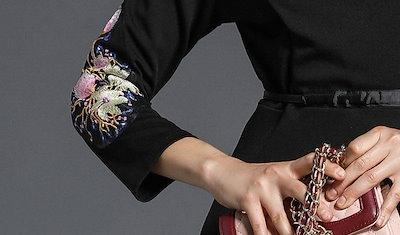 花柄 パーティードレス 刺繍 Aライン ひざ丈 長袖 ドレス 大人 ウエストリボン ハイウエスト 美脚効果 大人女子 フェミニン レトロ 黒 大きいサイズ 結婚式 秋新作