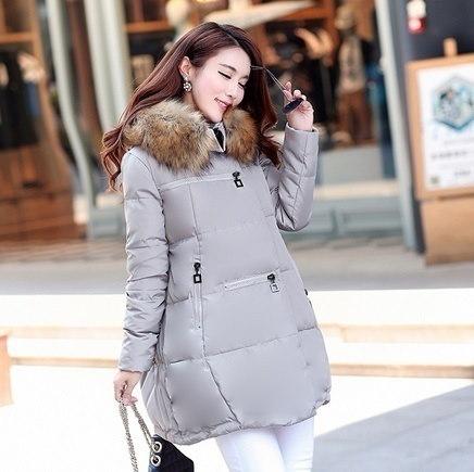 新しいコート2016パーカーのフード付きの冬の女性の人工毛皮の襟の冬のコートの女性のロングコート