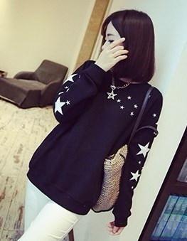 かなりの布の女性の秋の冬のセーターのシャツ長袖Tシャツの女の子黒白薄いブラウスの汗