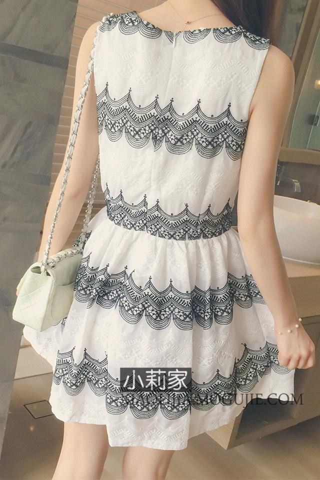 レース刺繍がアクセントになった大人可愛いワンピース☆ シフォン レース刺繍 ノースリーブ ワンピース ミニ丈 フレア