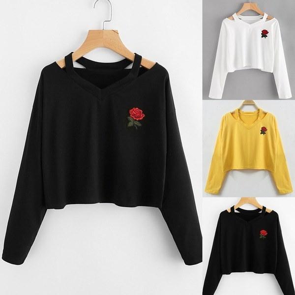 ファッションレディースロングスリーブローズプリントスウェットシャツトップスブラウスTシャツ