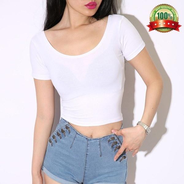 セクシーな女性の半袖カットトップスクロップドスクープカジュアルTシャツ
