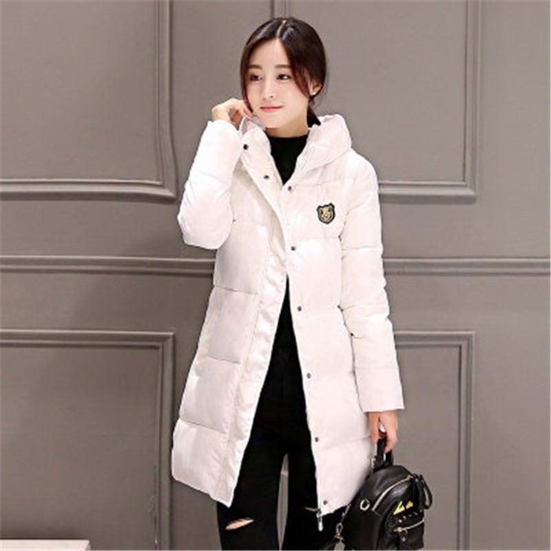 2016新しい韓国の冬の女性のコートエレガントなピュアカラー厚く暖かいフード付きダウンコットンジャケット高品質大きいサイズの女性のコート