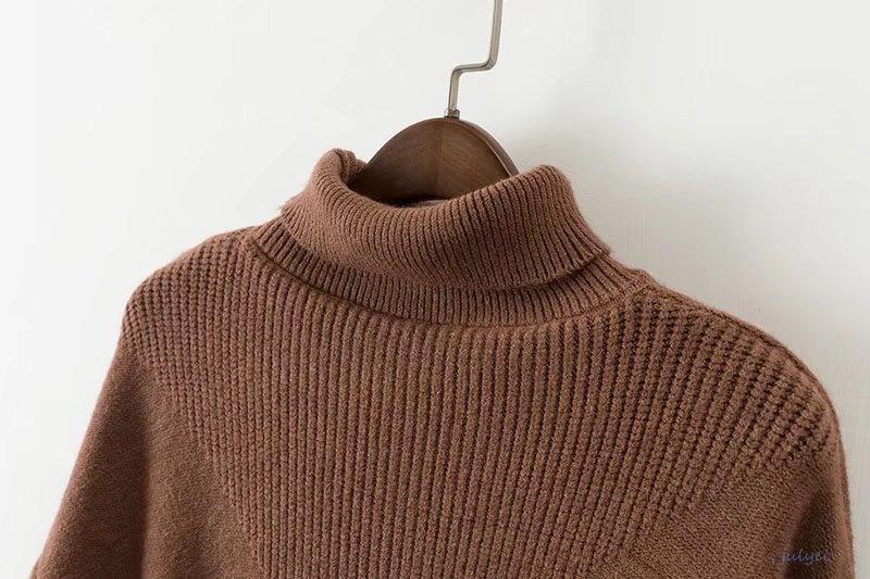 秋冬 レディース タートルネックニットセーター 不対称裾 秋冬 無地  レディース  長袖ニット スリット入り 着やせ