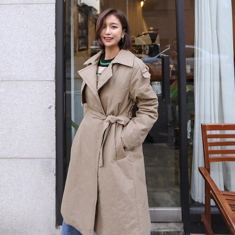 ♥送料 0円★PPGIRL_B263 Padding trench coat / long coat / padding coat / winter outer / belted coat