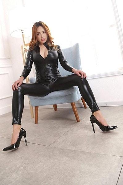 セクシーな女性Shiny Wetlook Teddies Catsuit Jumpsuitフェティッシュクラブウェア衣装